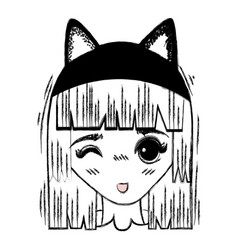 Anime cute beautiful woman with costume vector