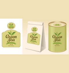 Banner label paper package and tin of green tea vector