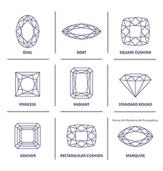 Blueprint Outline Jewelry Gems Cuts Vector Image