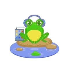 Cartoon frog character listening the music vector