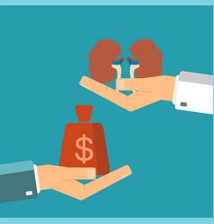 concept of organ transplant buying kidneys hand vector image vector image