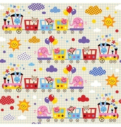 Cute animal train kids pattern vector