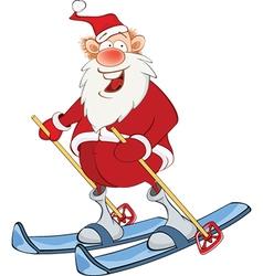 Cute Santa Claus Skiing Cartoon vector image vector image