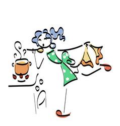 Doodle stickman concept cooking vector