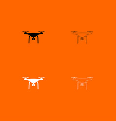 Drone black and white set icon vector