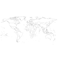 Gray political world map vector
