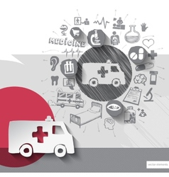 Hand drawn ambulance car icons with icons vector