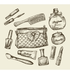 Hand drawn vintage womens cosmetics sketch vector