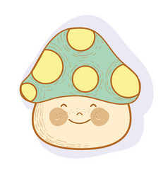 Happy kawaii fungus with cheeks and eyes vector