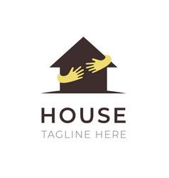 house hands hug logo template business symbol vector image