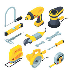 isometric tools for construction 3d vector image vector image