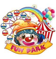Jester holding funpark banner vector image vector image
