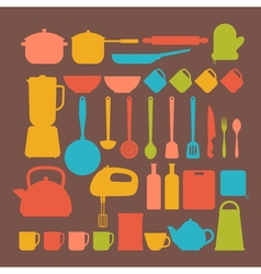 Kitchen appliances Cooking tools and kitchenware vector image