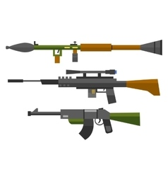 Machine gun sniper rifle set vector