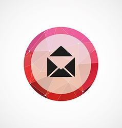 Mail circle pink triangle background icon vector
