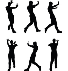 Man silhouette in stop push pose vector