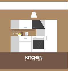 Modern kitchen interior design icon vector