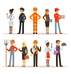 People group in different professions fireman vector