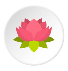 Pink lotus flower icon circle vector
