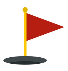 Red golf flag icon isolated vector