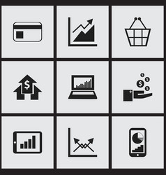 Set of 9 editable statistic icons includes vector