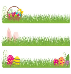 Set of easter banners grass and easter eggs vector