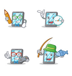 Set of tablet character with student clock gamer vector