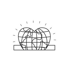 Silhouette closeup flat globe earth world in heart vector