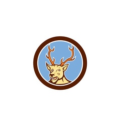 Stag deer happy head circle cartoon vector