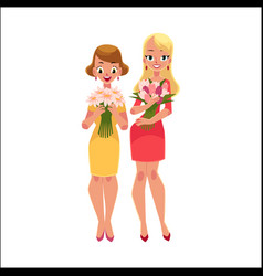 two beautiful blond women girls standing holding vector image vector image