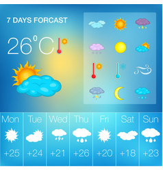 Weather symbols concept cartoon style vector