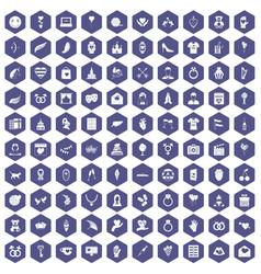 100 heart icons hexagon purple vector