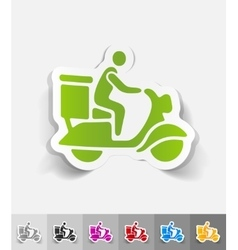 realistic design element delivery man on scooter vector image