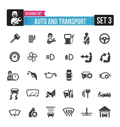 30 icons set auto and transport isolated on the vector