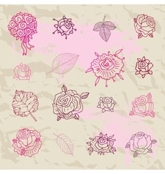 Rose doodles vector image