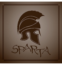 Silhouette ancient greek helmet with a crest vector
