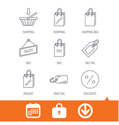 shopping cart gift bag and sale coupon icons vector image