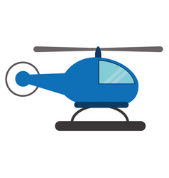 Blue helicopter transport fly vector