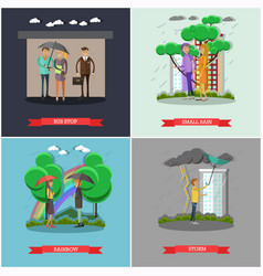 set of rainy weather concept posters in vector image