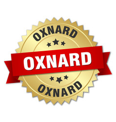 Oxnard round golden badge with red ribbon vector
