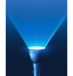 Blue shining flashlight light background vector