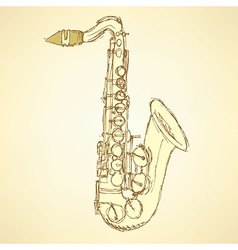 Sketch saxophone musical instrument vector
