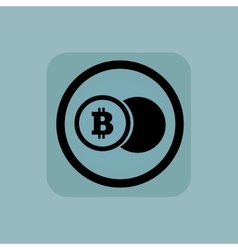 Pale blue bitcoin coin sign vector