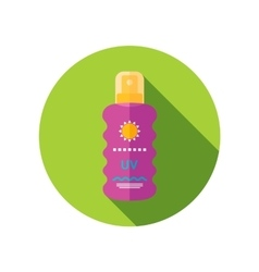 Sun cream in spray flat icon with long shadow vector