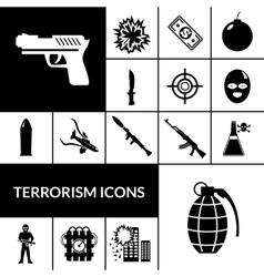 Terrorism icons black vector