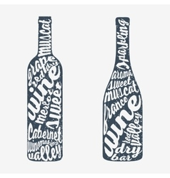 Hand lettering bottle of wine vector