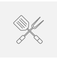 Kitchen spatula and big fork line icon vector