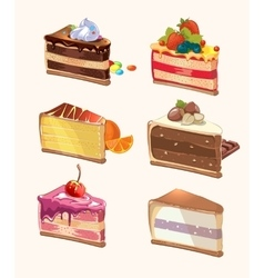 Cartoon cake pieces vector