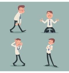Businessman suffer emotion fear horror depression vector