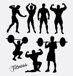 Fitness sport training silhouette vector